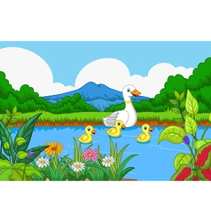 Duck cartoon swimming in lake landscape background vector