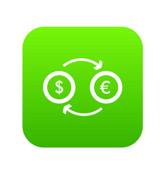 euro dollar euro exchange icon digital green vector image