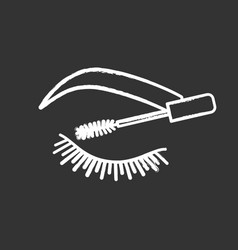 Eyelash mascara chalk icon vector