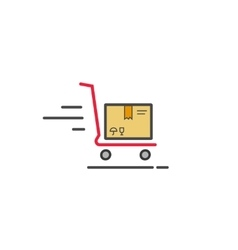 Fast delivery cart with parcel box icon vector image