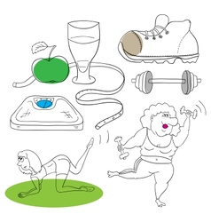 Fitness collection vector image vector image