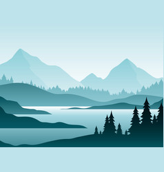Forest foggy landscape flat vector