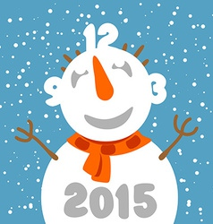 Fun snowman with clock face Greeting card template vector