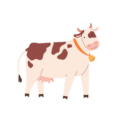 Funny spotty cow with bell on neck farm milk vector