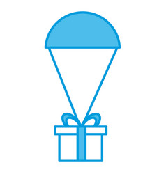 giftbox with parachute delivery symbol vector image