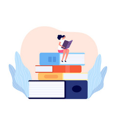 girl reading book outdoor learning female read vector image