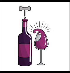 glass splashing and bottles of wine with take out vector image