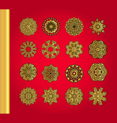 golden snowflakes on red background vector image