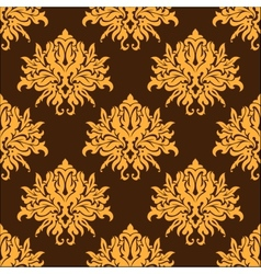 Golden yellow vintage floral seamless pattern vector image