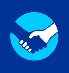 handshake circle icon colored background vector image