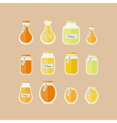 Honey jars icons set vector image