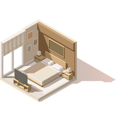 Isometric low poly bedroom icon vector