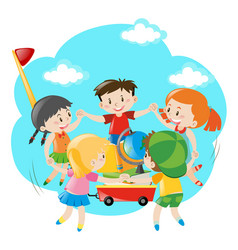kids holding hands around the wagon vector image