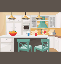 Kitchen interior in traditional design flat vector