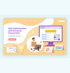 landing page website seo optimization and vector image