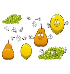 Lemon green grape and pear fruits vector image vector image