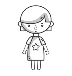 line tender girl child with pijama and hairstyle vector image