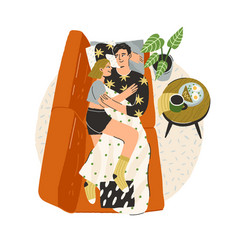 Love couple relaxing on sofa at home young happy vector