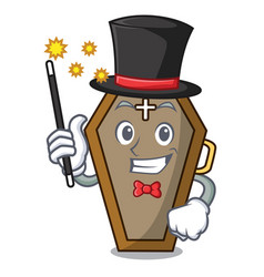 Magician coffin mascot cartoon style vector