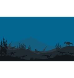 Many Dinosaur in hills vector