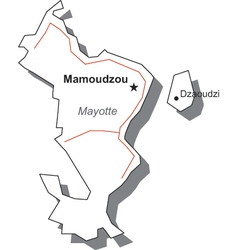 Mayotte Black White Map With Major Cities vector image