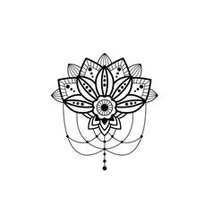 Mehendi mandala design flower with hanging pendent vector
