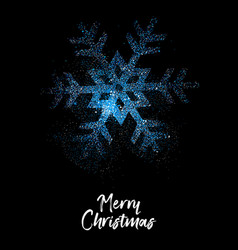 merry christmas blue glitter snowflake card vector image