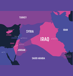 Middle east map high detailed political map of vector