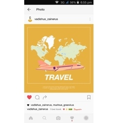 Mobile application and plane flying over the world vector