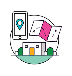mobilephone location base icon vector image