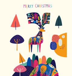 modern template with christmas deer vector image