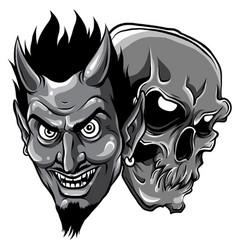 Monochromatic demon devil and skull head vector