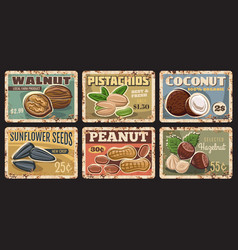 nuts and seeds farm products market rusty plates vector image
