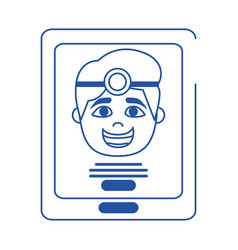 online doctor smartphone app health care blue line vector image