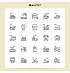 outline 25 transport icon set line style design vector image