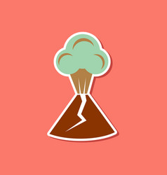 Paper sticker on stylish background of volcano vector