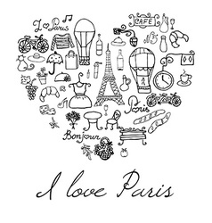Paris doodles elements Hand drawn set withefel vector image