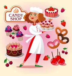 Pastry cook girl in the pastry shop vector