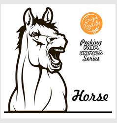 peeking horse - cheerful neighing horse vector image