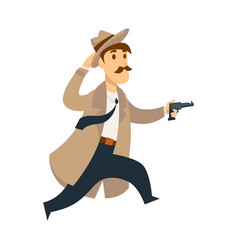 professional detective run fast in chase with vector image