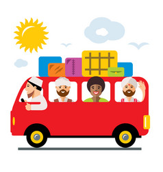 Refugees bus illegal migration flat vector