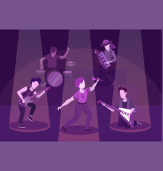 rock band performance flat vector image