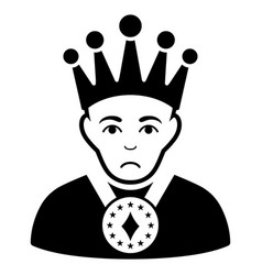 Sad king black icon vector