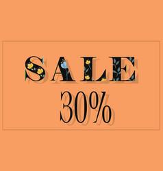 Sale thirty percents black floral font vector