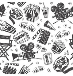 seamless pattern with cinema elements vector image