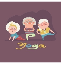 Senior people doing yoga exercise vector image