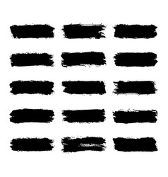 Set black brushstroke paint vector
