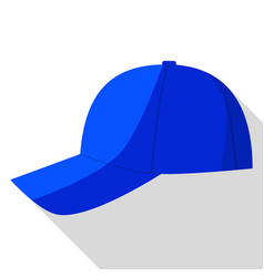 Side view of blue baseball cap icon flat style vector
