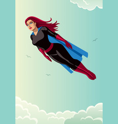 Super heroine flying sky vector