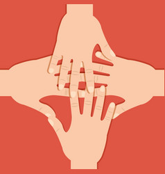 teamwork hands connection united expression vector image